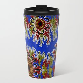 Authentic Aboriginal Art - Waterholes Corela Travel Mug