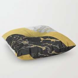 Marble Mix // Gold Flecked Black & White Marble Floor Pillow