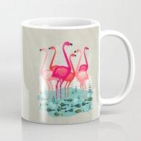 yetiland Mugs featuring Flamingos by Andrea Lauren  by Andrea Lauren Design