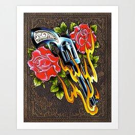 trad pistol w roses Art Print
