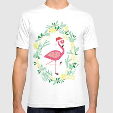 FLAMINGO CHRISTMAS WREATH Mens Fitted Tee X-LARGE White