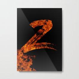 Burning on Fire Letter Z Metal Print