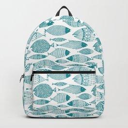 Green Fish White Backpack