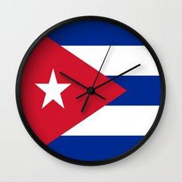 Flag of Cuba -cuban,havana, guevara,che,castro,tropical,central america,spanish,latine Wall Clock