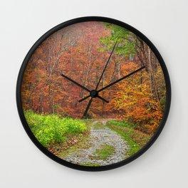 Vibrant Autumn Trail Wall Clock