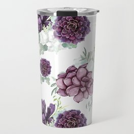 Succulents Deep Violet Lavender Pastel Green Lilac PatternSee Nature Magick for more pretty pastel c Travel Mug