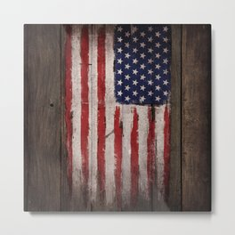 Wood American flag Metal Print