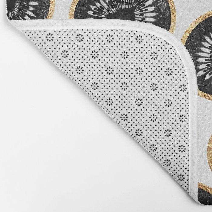 Black & Gold Kiwi Pattern Bath Mat
