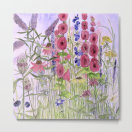 Watercolor Wildflower Garden Flowers Hollyhock Teasel Butterfly Bush Blue Sky Metal Print
