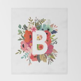 B – Monogrammed Floral Initial Throw Blanket