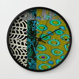 Teal & Olive Abstract Art Collage Wall Clock