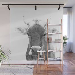 Cow black and white animal portrait Wall Mural