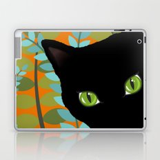 Black Kitty Cat In The Garden Laptop & iPad Skin