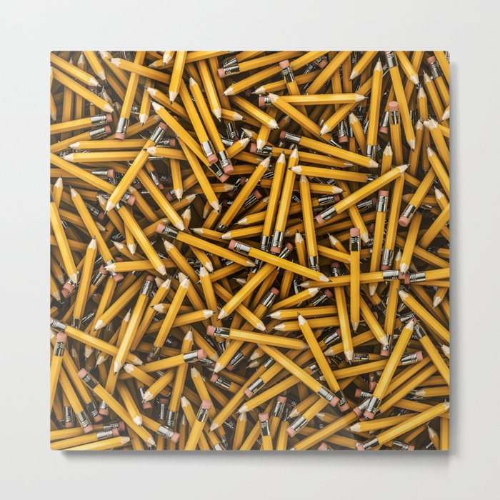 Pencil it in / 3D render of hundreds of yellow pencils Metal Print
