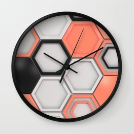White, black and red hexagons Wall Clock