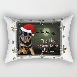 Tis The Season To Be Jolly Cute Rottweiler Christmas Rectangular Pillow