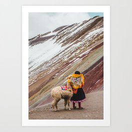 Peruvian girl in Quechua dress with her pet llama in front of a snow-capped Rainbow Mountain Art Print
