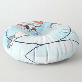 Airplane making a looping - aresti Floor Pillow