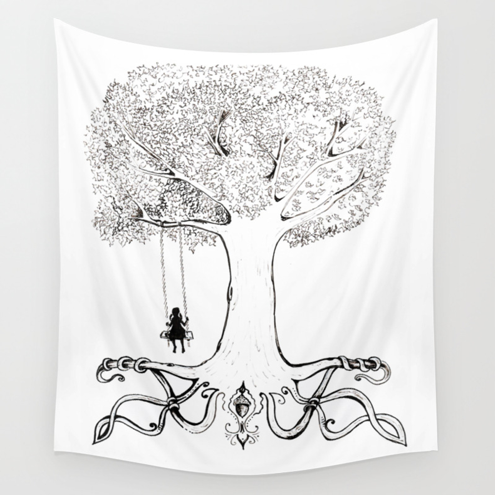 Mighty Oak From Acorns Grow Wall Tapestry by Cmtillustration TPS6434047