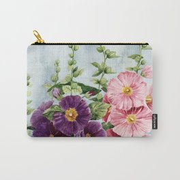 New Mexico Hollyhocks Watercolor Carry-All Pouch