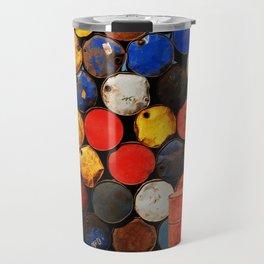 Gasoline Rusty Tin Cans Pattern Travel Mug