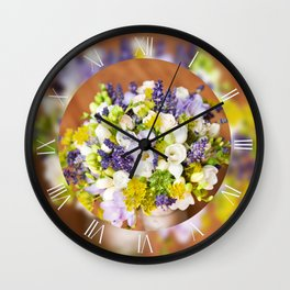 Bridal freesia wedding bouquet Wall Clock