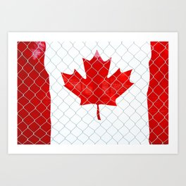 Rustic Canada Flag behind Chain Link Fence Art Print