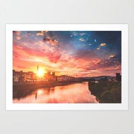 Sunrise over Florence Art Print