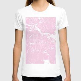 Amsterdam Pink on White Street Map T-shirt