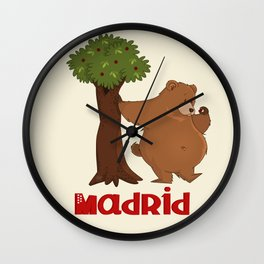 MADRID: Bear and Madrono (v.2) Wall Clock