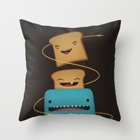 good morning Throw Pillows featuring Good Morning by mrbiscuit