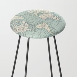 World Map in Blue and Cream Counter Stool