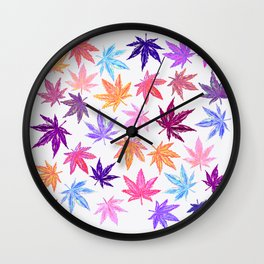 Autumn Hemp Leaves Wall Clock