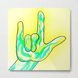ASL I Love You Baby Yellow Metal Print