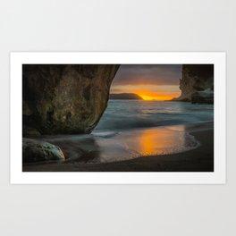 Dawn At Cathedral Cove 3 Art Print