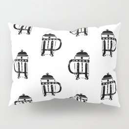 French Press linocut black and white pattern coffee art kitchen pattern art Pillow Sham