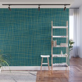 Dark Yellow Hand Drawn Abstract Mosaic Thin Line Grid Pattern on Tropical Dark Teal Inspired by Sherwin Williams 2020 Trending Color Oceanside SW6496 Wall Mural