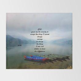 Serenity Prayer With Phewa Lake Panoramic View Throw Blanket