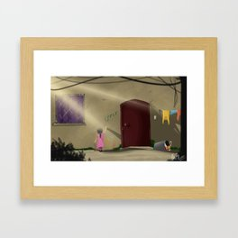 The Girl With Her Crayons Framed Art Print