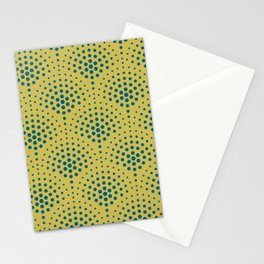 Tropical Dark Teal Polka Dot Scallop Pattern Inspired by Sherwin Williams 2020 Trending Color Oceanside SW6496 on Dark Yellow Stationery Cards