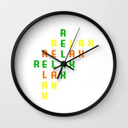 """Colorful combination of green yellow and orange tee design with text """"Relax"""".Creative way to tell it Wall Clock"""