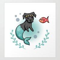 Mermaid Pit Bull Art Print