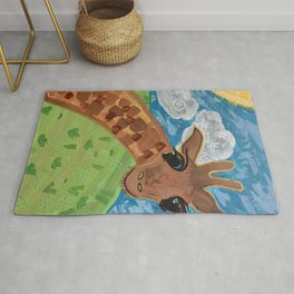 Wide Eyed Giraffe Original Painting Rug