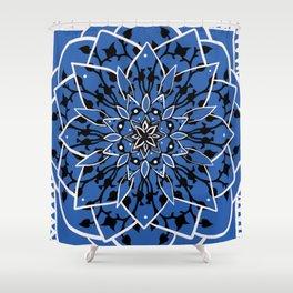 Blue Succulent Star Shower Curtain