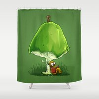 bookworm Shower Curtains featuring BookWorm by Alberto Arni