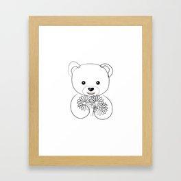 """"""" Mother's Day """" - Teddy Bear Holding Flowers Framed Art Print"""