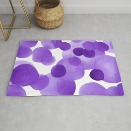 Aubergine Bubbles: Abstract purple watercolor painting Rug