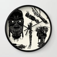 terminator Wall Clocks featuring Decommissioned: Terminator  by Josh Ln