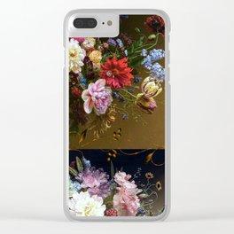 Golden age bohemian floral landscape Clear iPhone Case