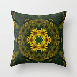 Large Yellow Wildflower Kaleidoscope Art 10 Throw Pillow